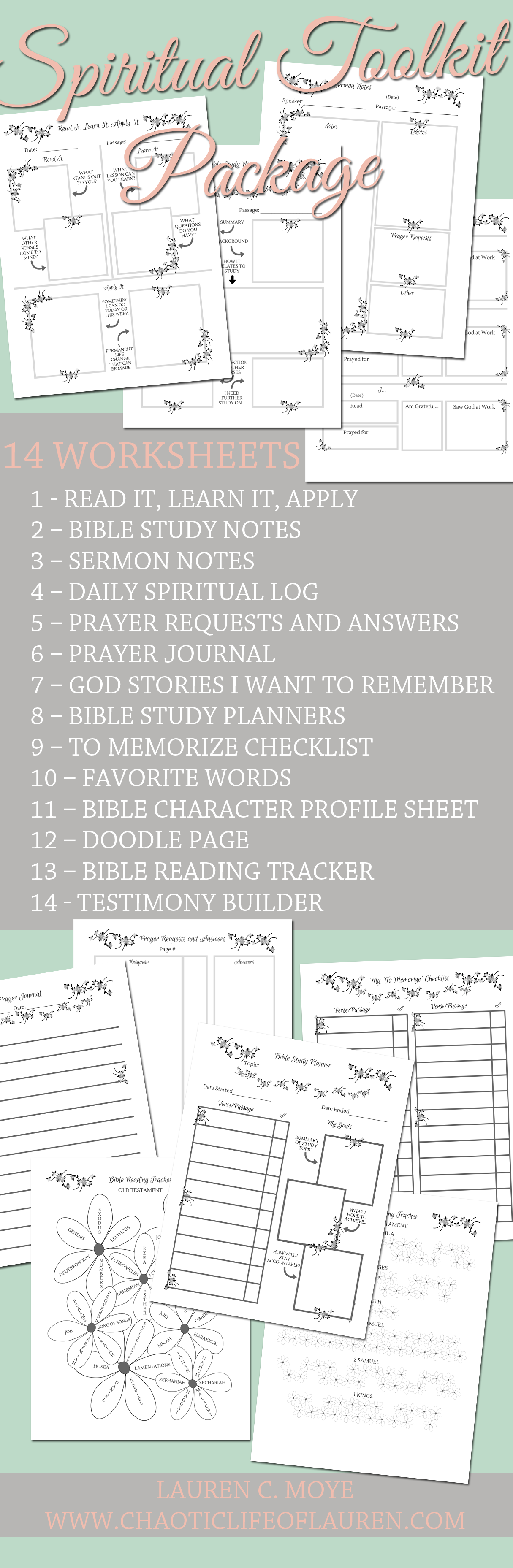 Spiritual Toolkit Package Worksheets