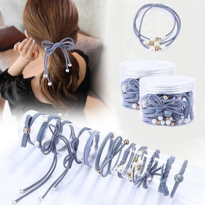 Hair Bands Rope Women Pearl Solid Stretch Hair Ties Elastic Ponytail Holder Best