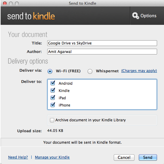 Easily Transfer Web Pages and Documents to your Kindle