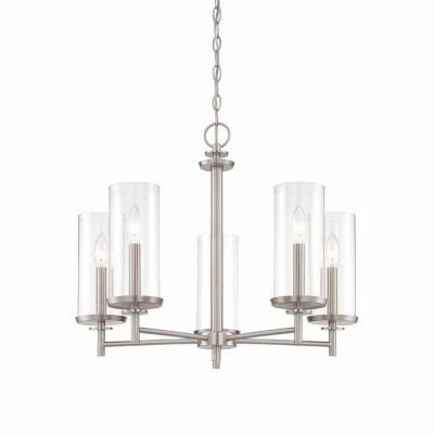 H&ton Bay 5-Light Brushed Nickel Chandelier with Clear Glass Shades  sc 1 st  Pinterest : brushed nickel chandelier lighting - azcodes.com