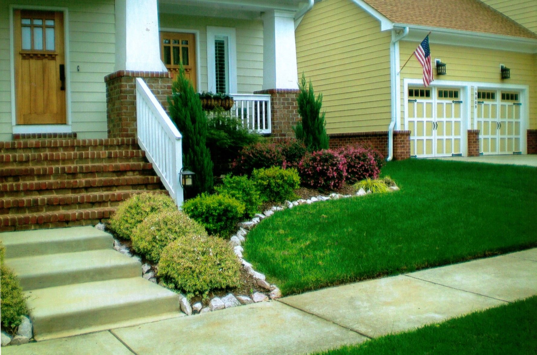 Small garden landscaping design ideas for front yard jpg - Garden Simple Modern House With Porch And Brick Wall Exposed Pile And Stair Plus Small Backyard Landscape Designsmall