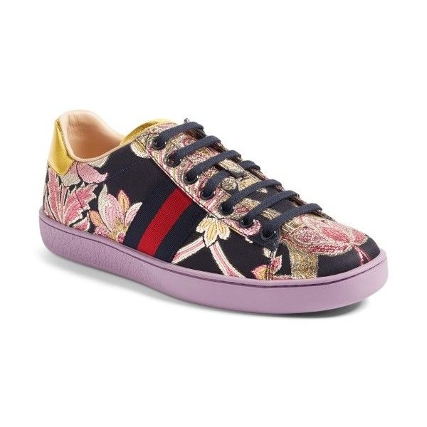 Women s Gucci New Ace Floral Sneaker ( 620) ❤ liked on Polyvore featuring  shoes eb43d32b3