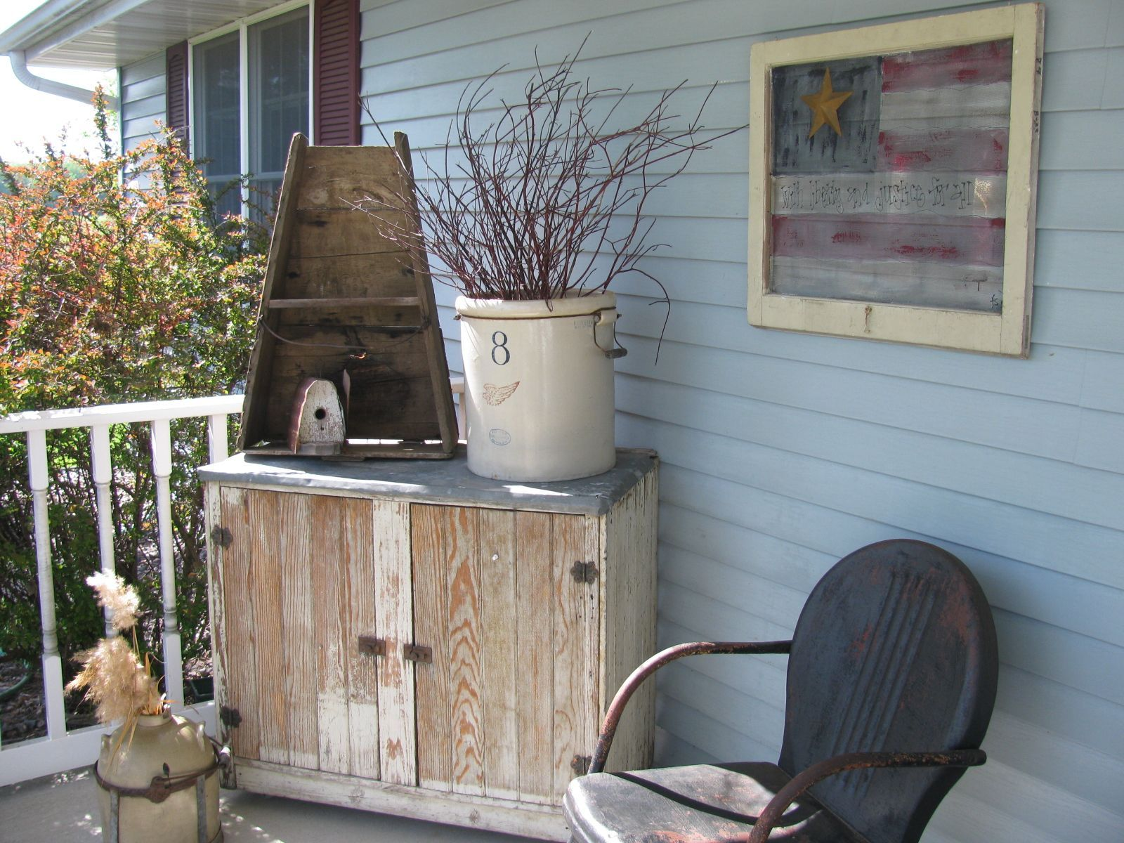 A little corner of our front porch primitive decorating - Vintage front porch decorating ...