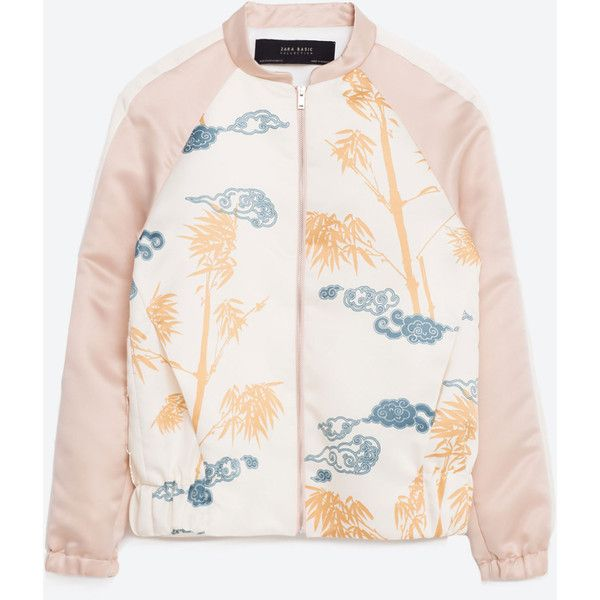 PRINTED SATEEN BOMBER JACKET - NEW IN | ZARA Germany (168.790 COP) ❤ liked on Polyvore featuring outerwear, jackets, blouson jacket, sateen jacket, bomber jacket, white jacket and bomber style jacket