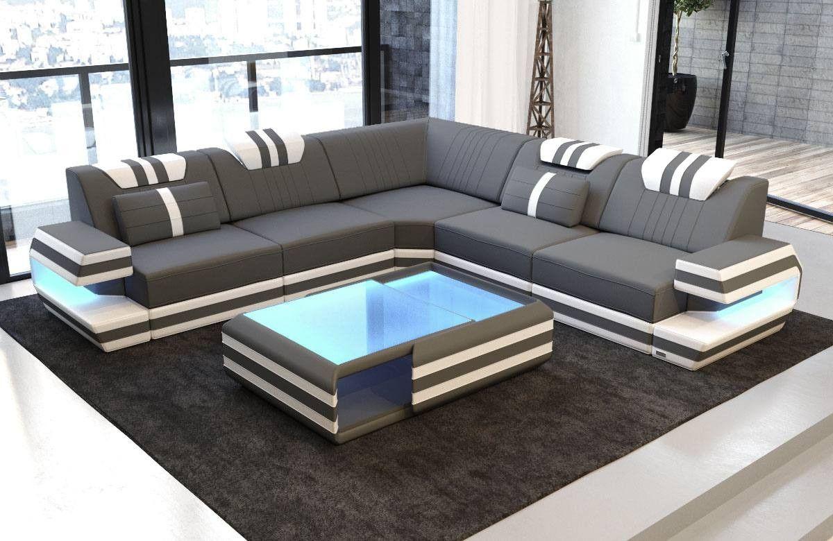 Modern Sectional Fabric Sofa San Antonio L Shape With Led Corner