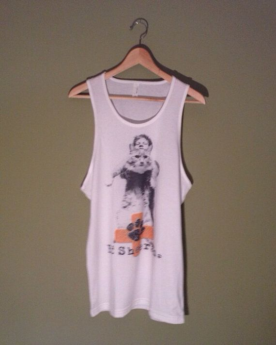 Ed Sheeran Cat with Paw Print Tank Top White Unisex by BestFanTees, $16.00