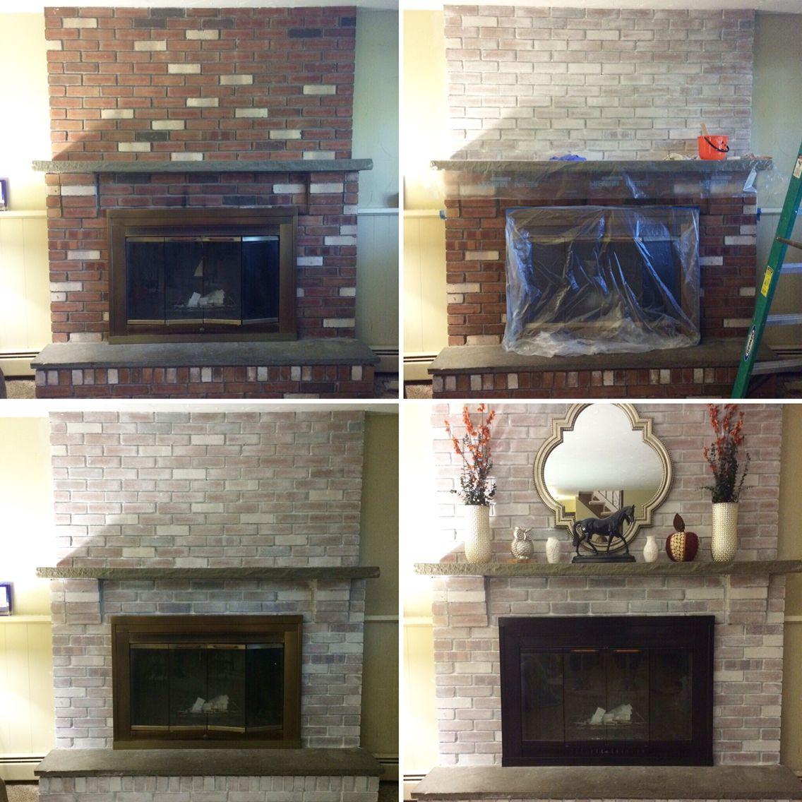 Heat Resistant Paint Fireplace Fireplace Makeover White Wash On The Brick And Heat Resistant
