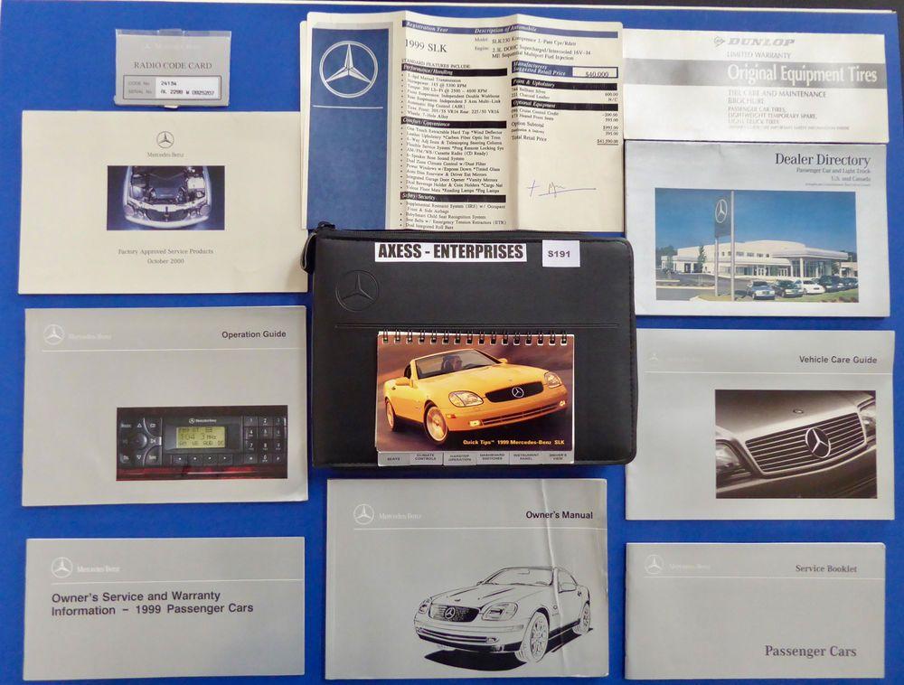 1999 Mercedes R170 SLK SLK230 Kompressor Owner Manuals Operator