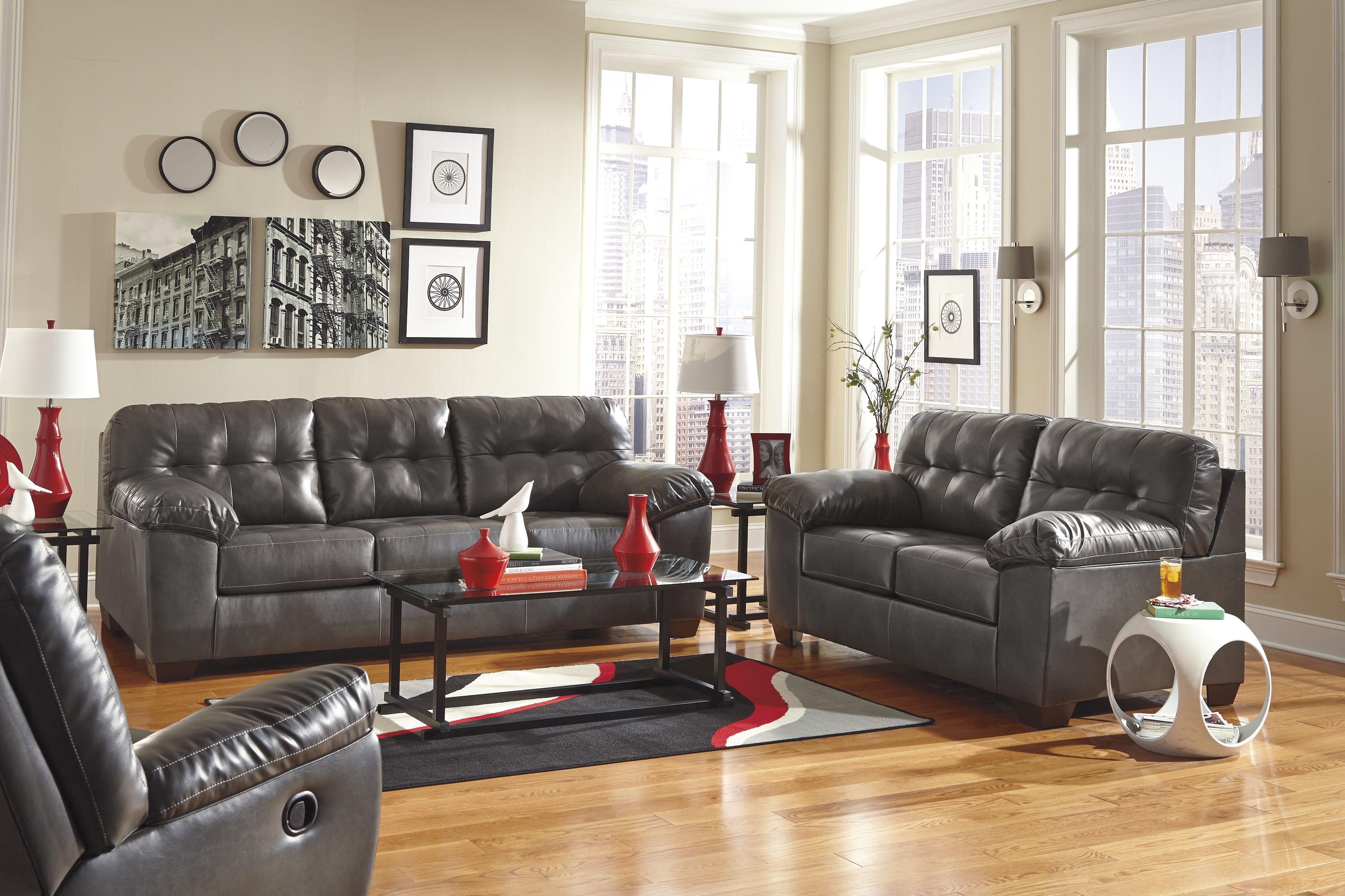 Seamus Taupe Sectional W RAF Power Loveseat