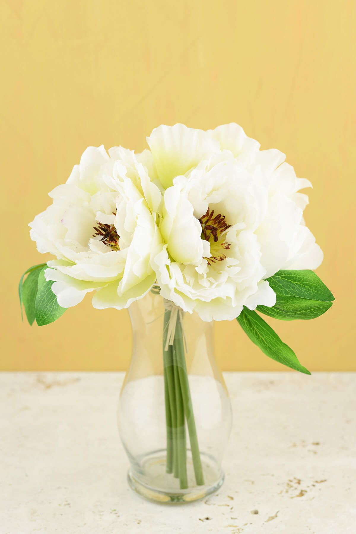 Peony Silk Bouquet In White 10 Tall Peony Silk And Silk Flower
