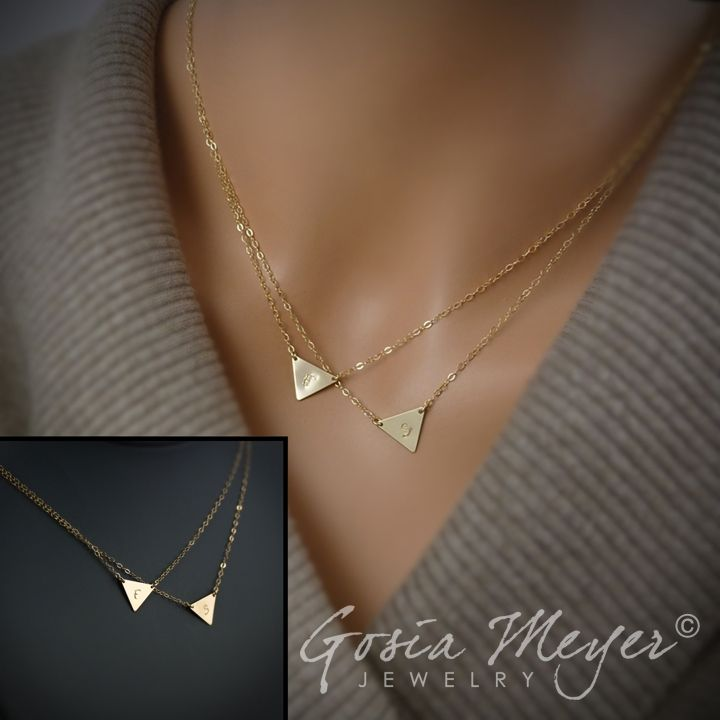 Double layered initial necklace two triangles initials necklace double layered initial necklace two triangles initials necklace gold filled or sterling silver mozeypictures Images