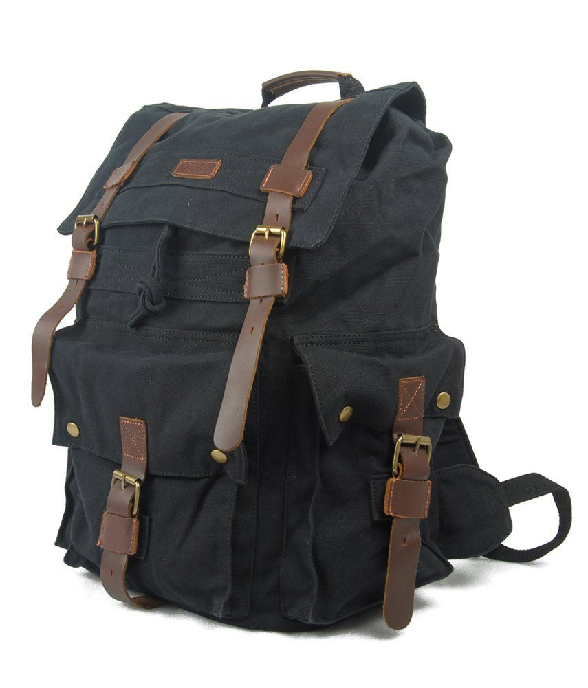 9c8b3e3c04 Amazon.com  Kattee Vintage Canvas Leather Hiking Travel Backpack Rucksack  School Bag Army Green  Clothing