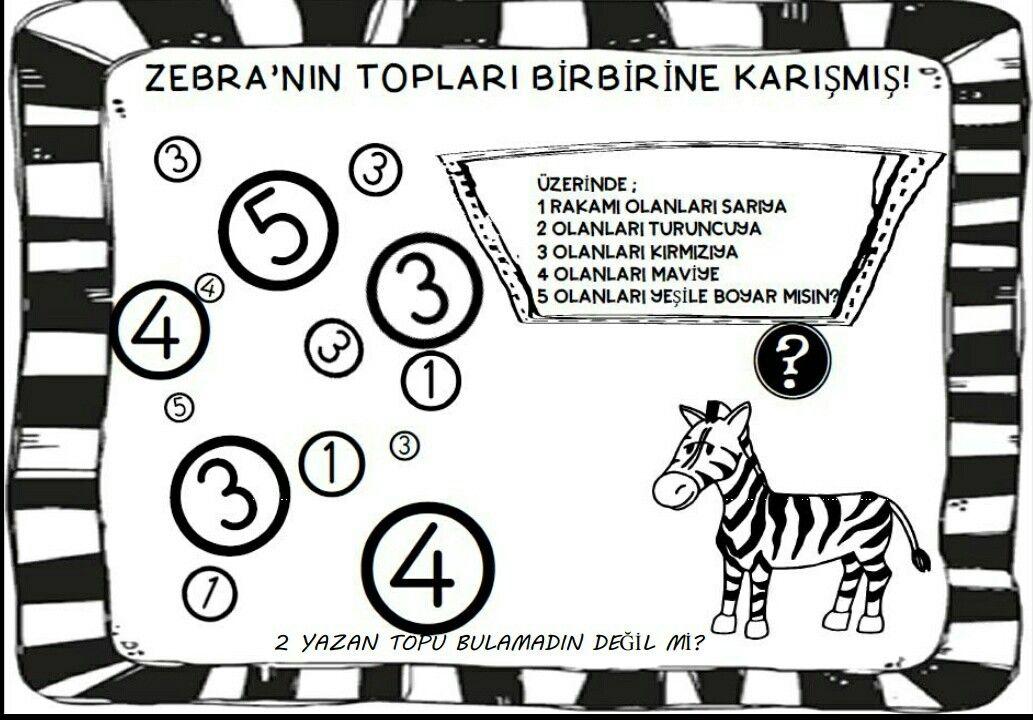 Zebra Sayilar 1 Sayfa Goruntuler Ile Boyama Sayfalari Okul