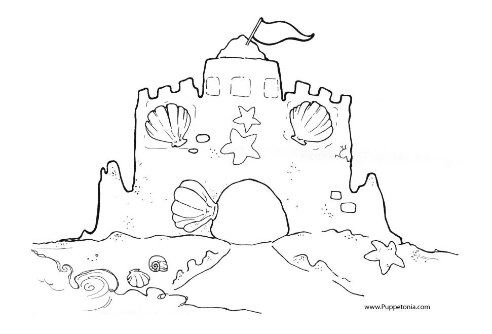 Sandcastle Printable Castle Coloring Page Beach Coloring Pages