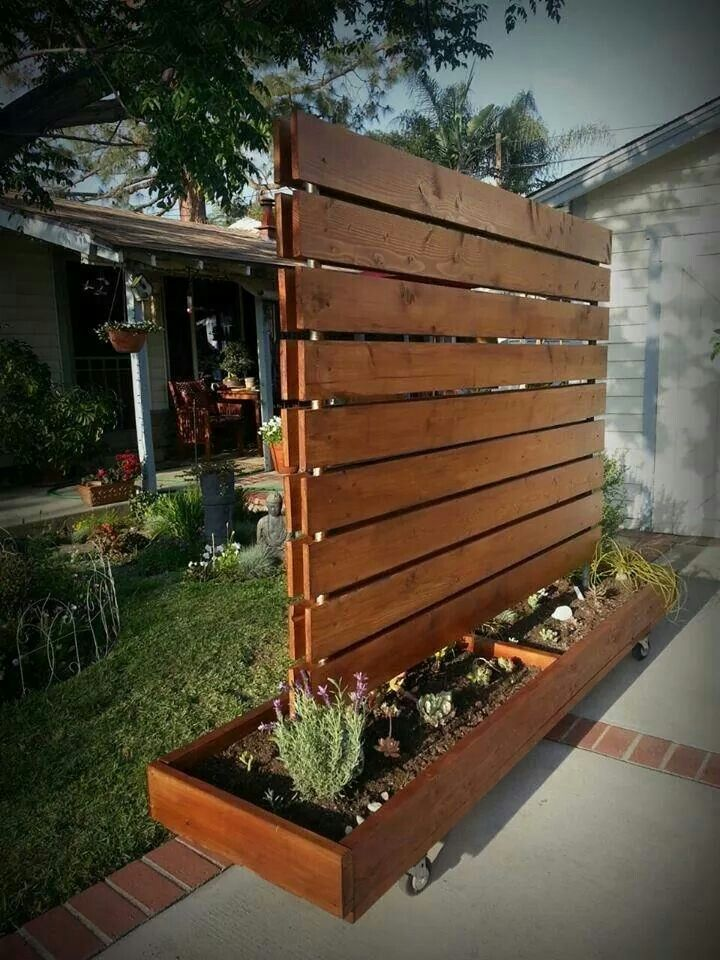 moveable privacy fence succulent garden made from a