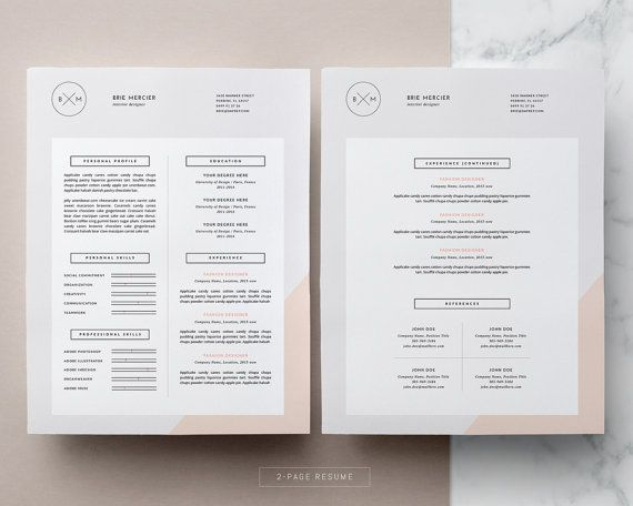 Minimalist Simple Resume Design Two Page Modern Resume Etsy Minimal Resume Template Resume Design Resume Design Template