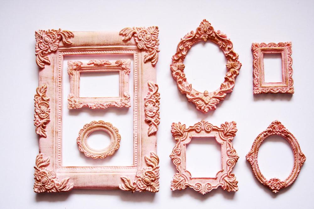 Vintage Frame Gothic Photo Frames Mini Set Of 7 Decorative Etsy Pink Picture Frames Vintage Photo Frames Vintage Picture Frames
