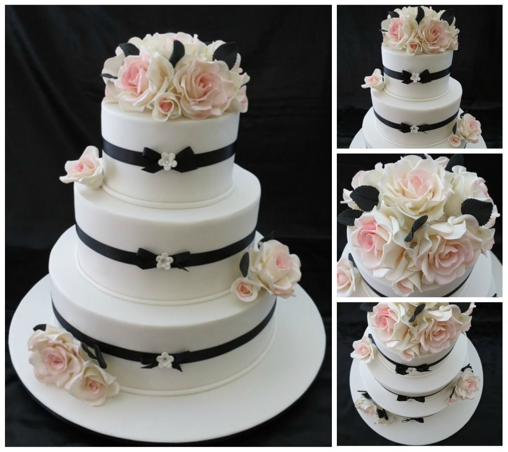 Simple Black White Wedding Cake With Flowers And Cakes