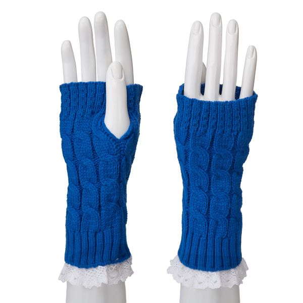 Fingerless Crochet and Lace Gloves-Royal/White - Occasionally Made - Classic Gifts with a Trendy Twist!