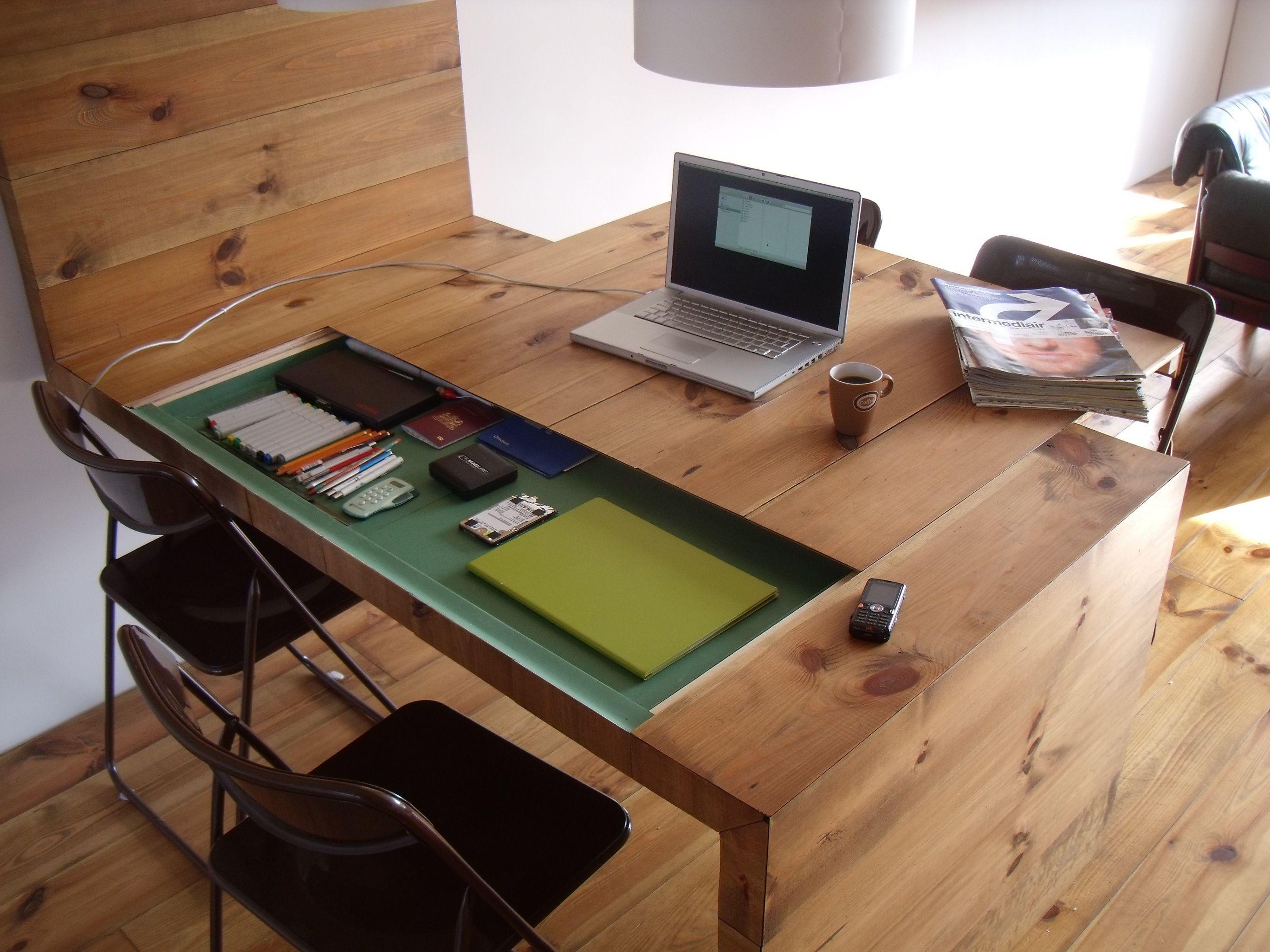 design] Finished my kitchen and living room.  Hidden desk, Home, Desk