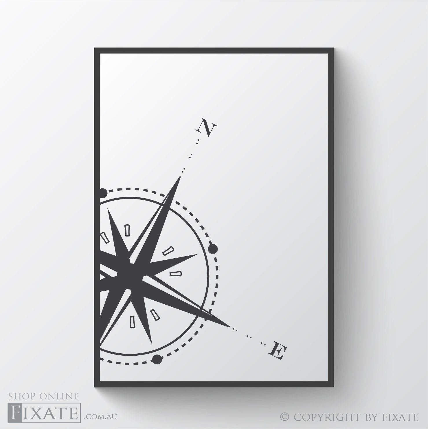 Compass rose wall print digital download large poster