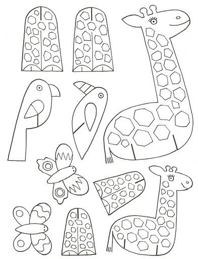 giraffe, bird, butterfly print on card stock color, cut out and put ...