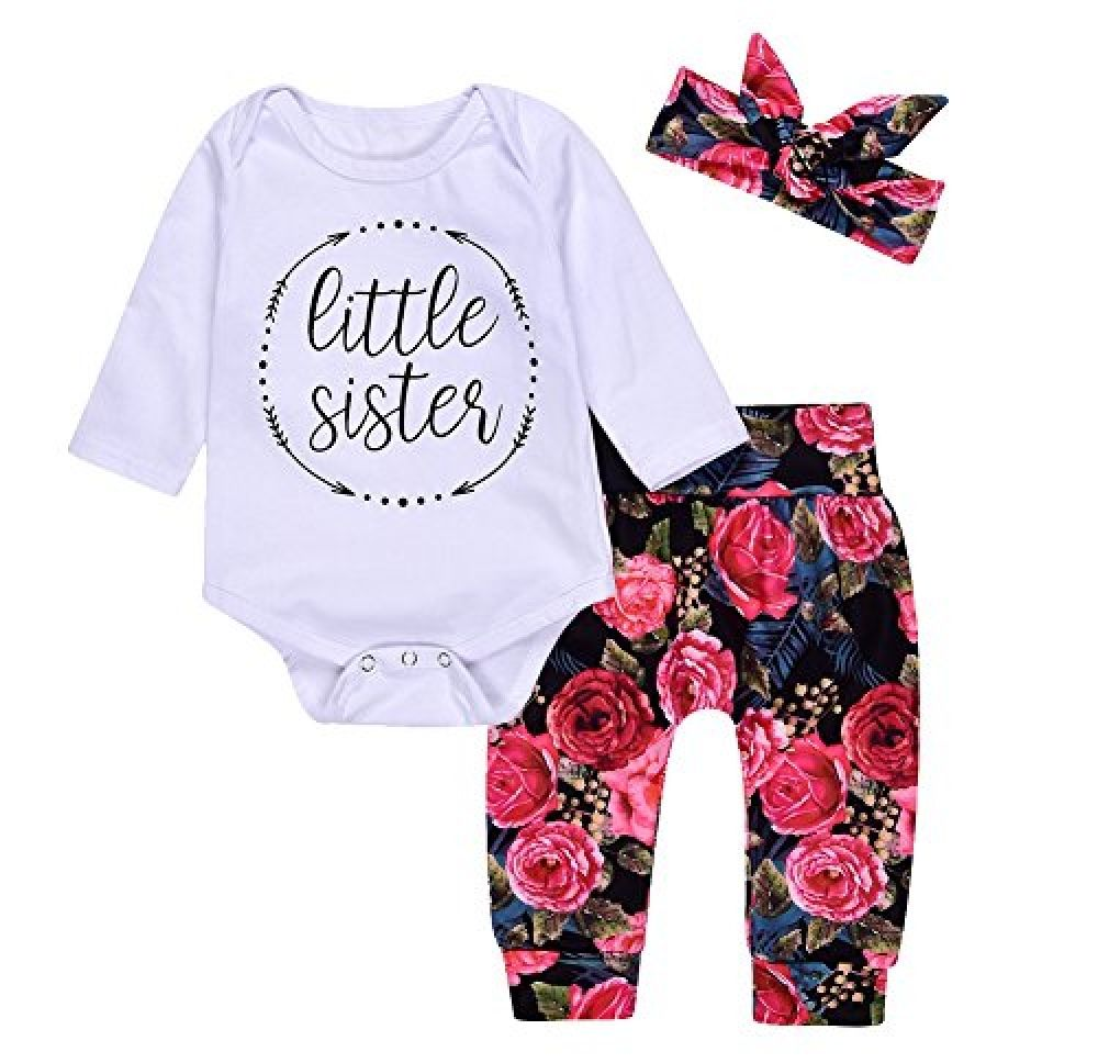 5857100d60b 3Pcs Cotton Newborn Baby Girls Tops + Flower Pants + Headband Clothes  Outfits Set (0-6M
