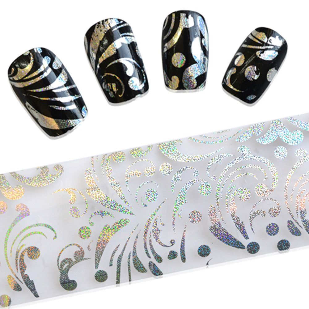 100cmx4cm Shiny Silver Black Printing Transfer Foils Nail Sticker ...