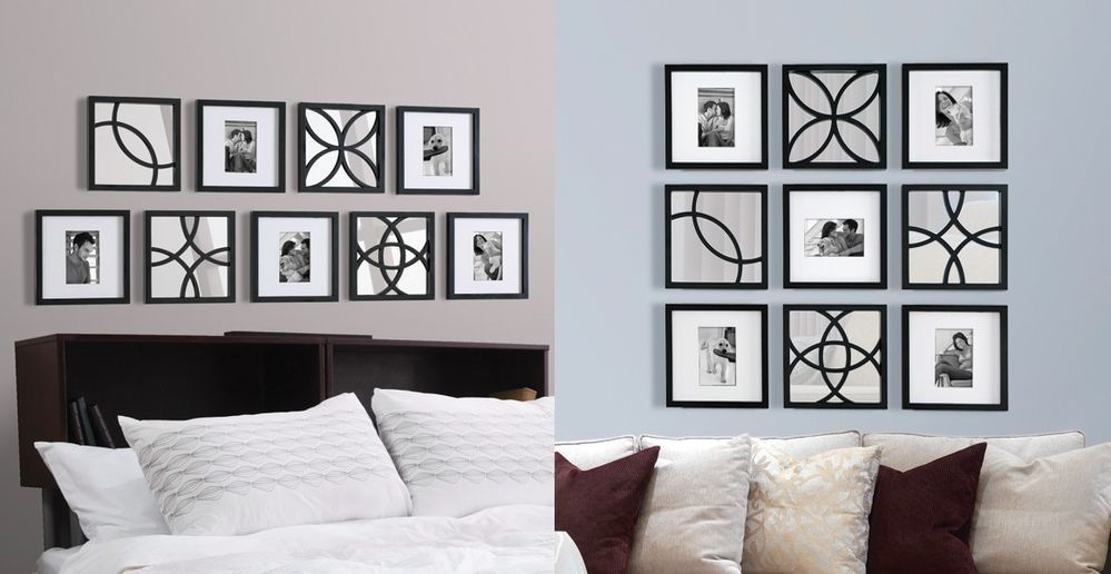 Black 9 Piece Picture Frame & Mirror Set Modern Home Decor Photo Gift New #BeyondWords #Contemporary