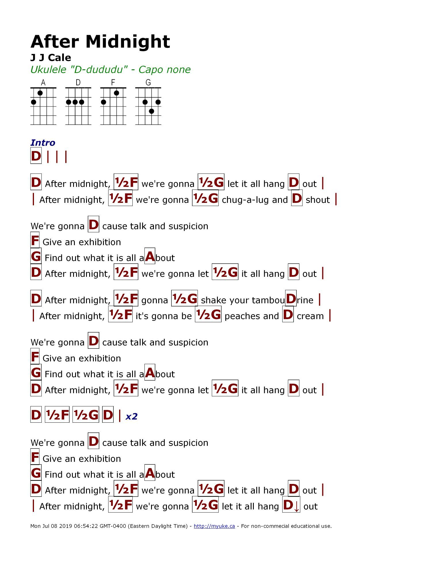 After Midnight J J Cale   Ukulele chords songs, Guitar chords ...
