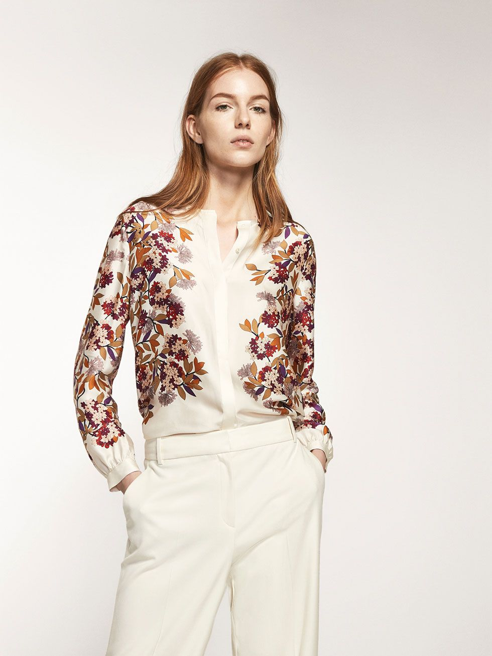 9bac18b411f Autumn winter 2016 Women´s POSITIONAL FLORAL PRINTED SHIRT at Massimo Dutti  for 89.5. Effortless elegance!