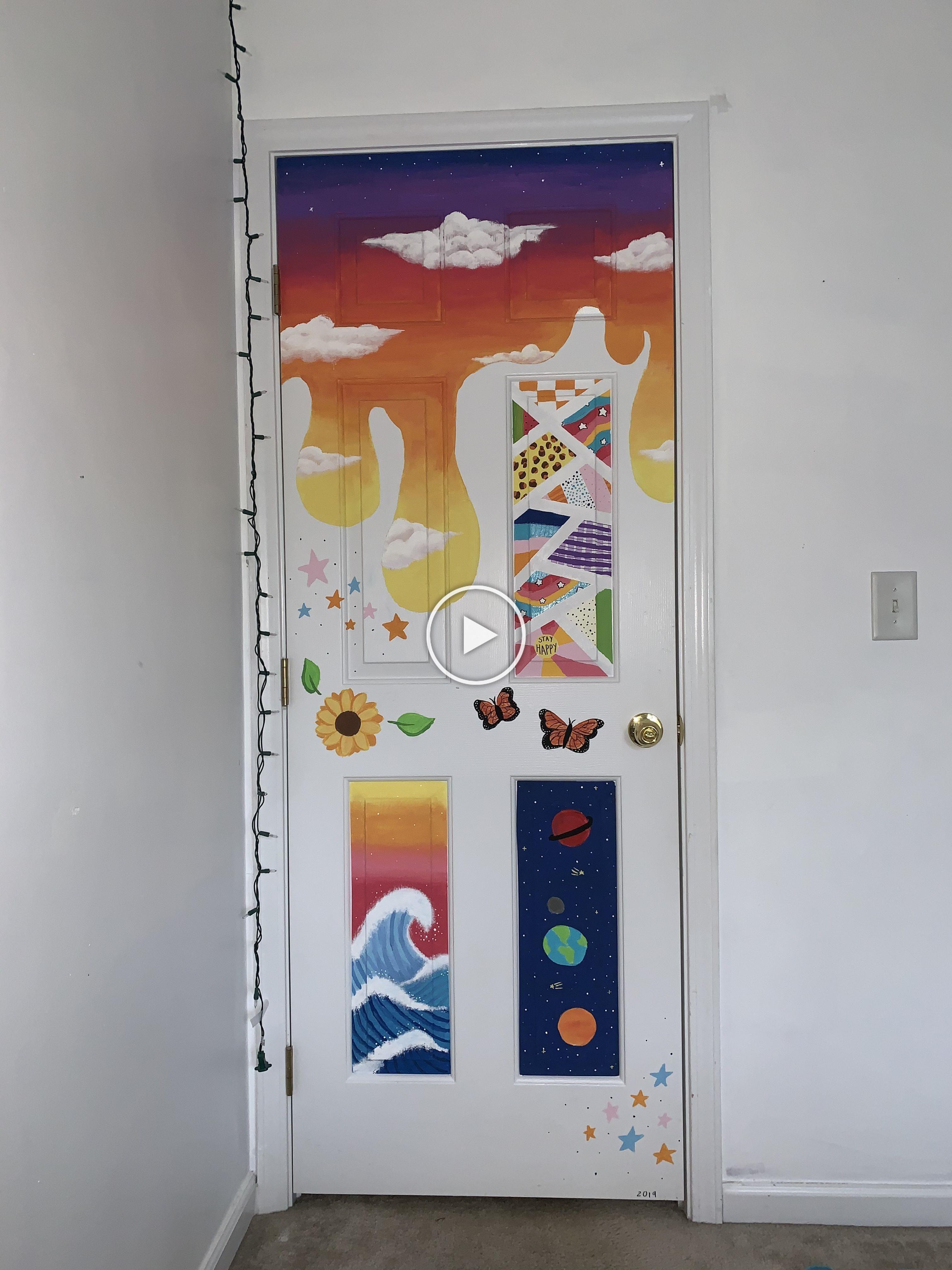 Painting Vsco Doorpainting Door Cute Tiktok Tiktokpaint Art Create Painted Bedroom Doors Painted Doors Bedroom Wall Paint