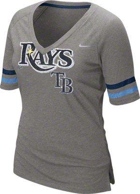 15a09ac80de2b Tampa Bay Rays Women s Nike Charcoal V-Neck T-Shirt