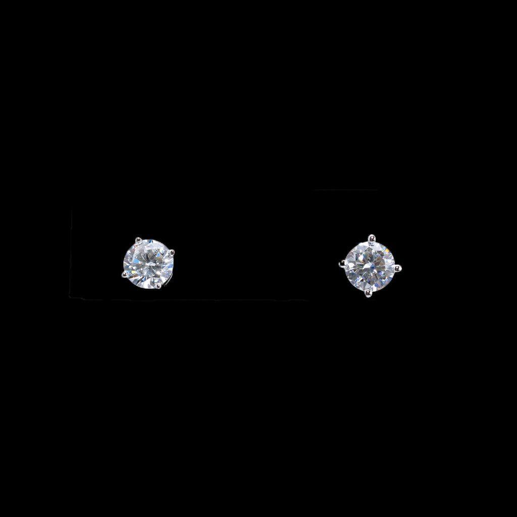 LaFonn Silver Simulated Diamond Stud Earrings