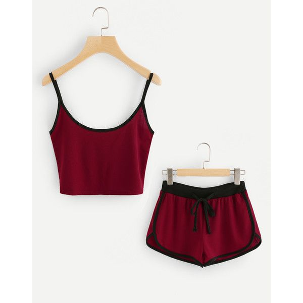8721faa10dc761 SheIn(sheinside) Ringer Crop Cami Top With Drawstring Shorts ($13) via  Polyvore featuring tops, burgundy, summer crop tops, long-sleeve crop tops,  sexy crop ...