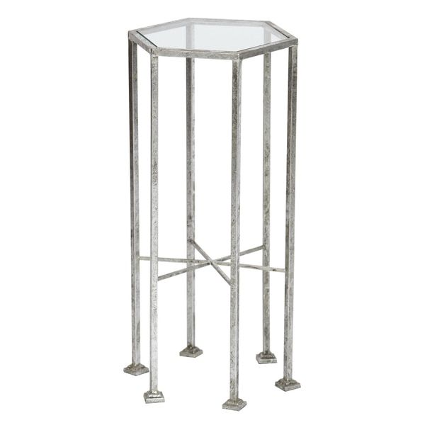 Silver Leaf Glass Top Round Metal Accent Table