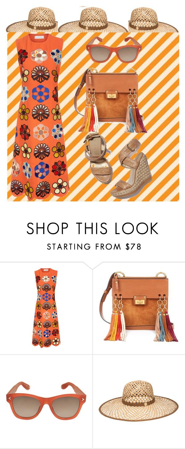 """Orange Swirl"" by onesweetthing ❤ liked on Polyvore featuring Victoria, Victoria Beckham, Stuart Weitzman, Chloé, Givenchy and Henri Bendel"