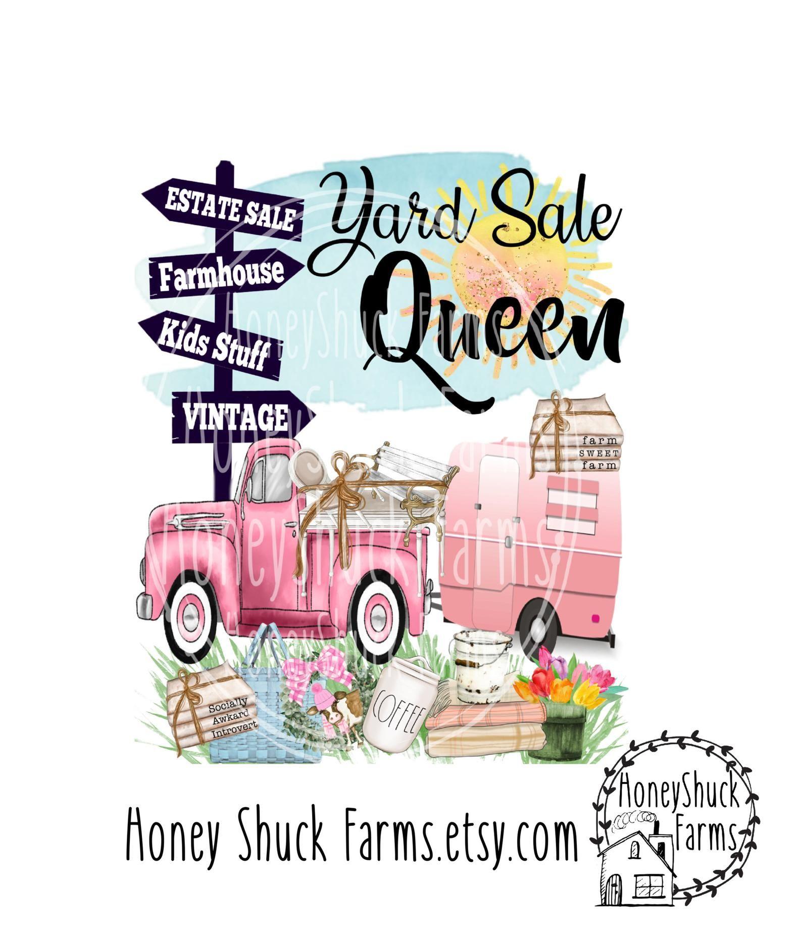 Yard Sale Queen Digital Download Truck And Camper Yard Sale Etsy Yard Sale Digital Making Shirts