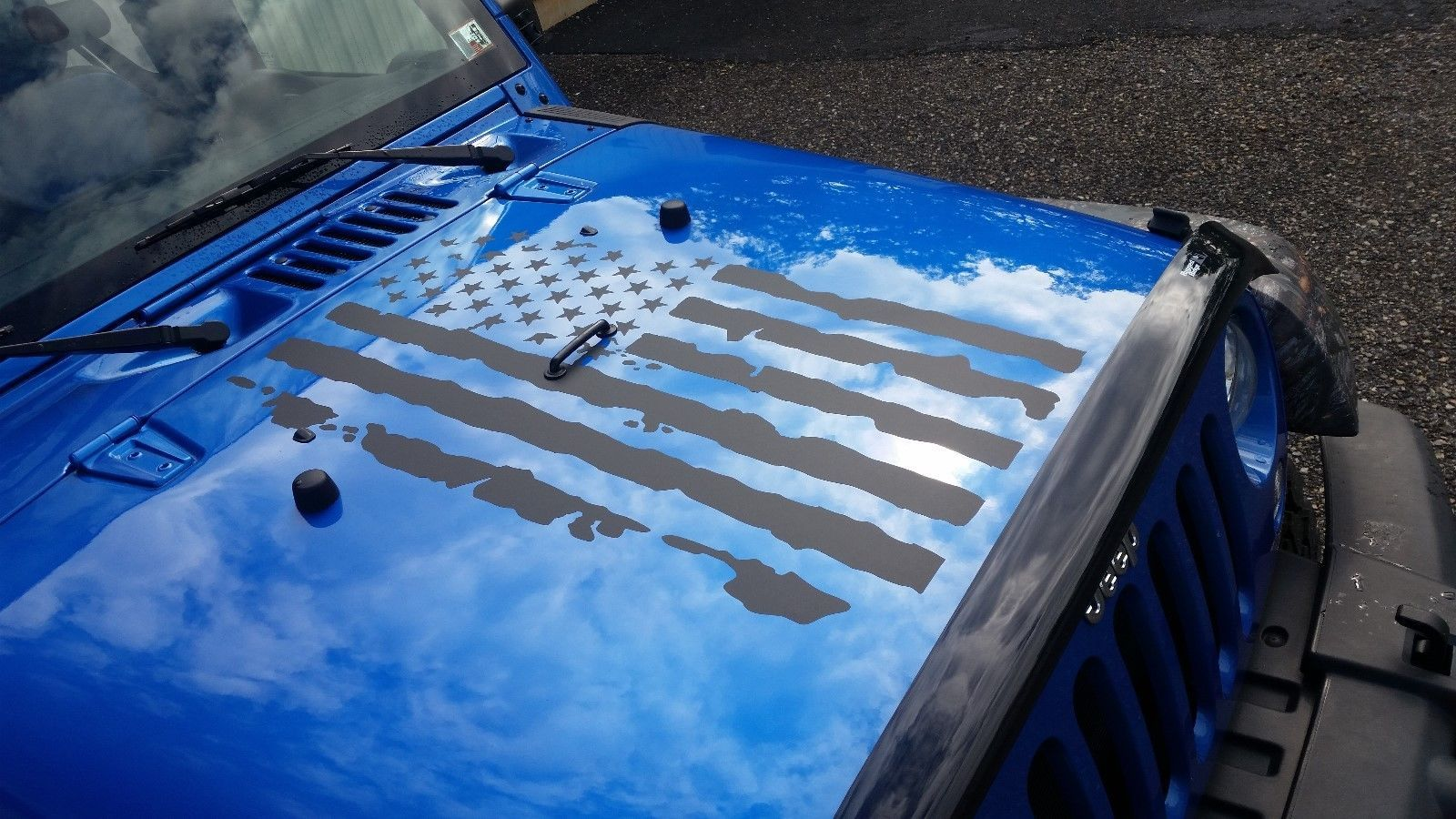 INFIDEL Distressed American Flag Hood Tailgate Decal fits Jeep Dodge Ford Chevy