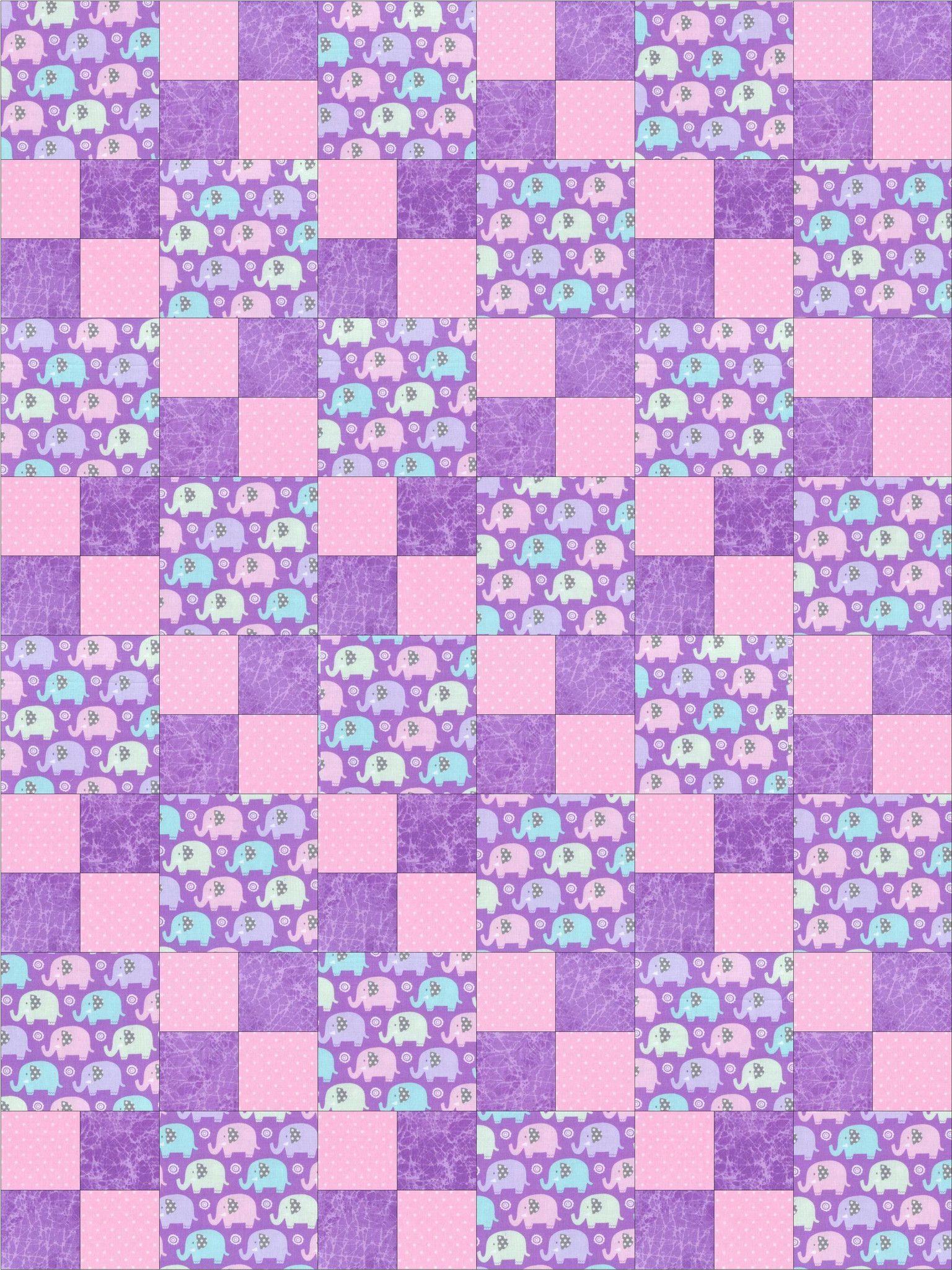 Elephants Lilac Nursery Pre Cut Quilt Kit Blocks