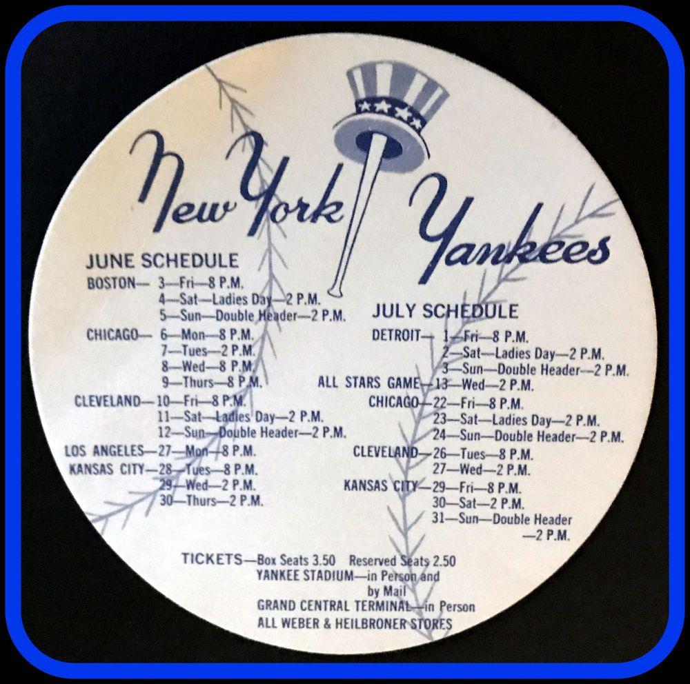 1960 New York Yankees Weber Heilbroner Stores Coaster Schedule Free Shipping Coasterschedule Ne New York Yankees Yankees Schedule New York Yankees Baseball