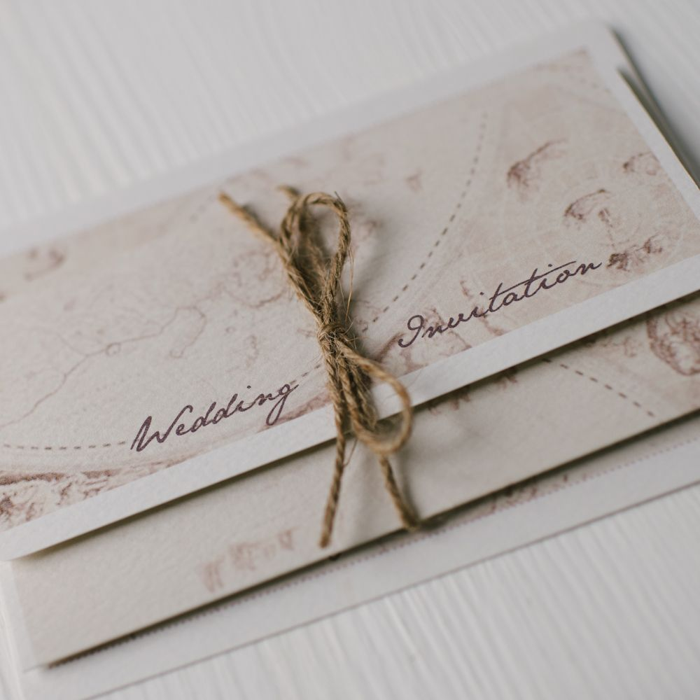 wedding invitations map%0A Old map triple fold wedding invitation tied with rustic twine  by arbee  cards