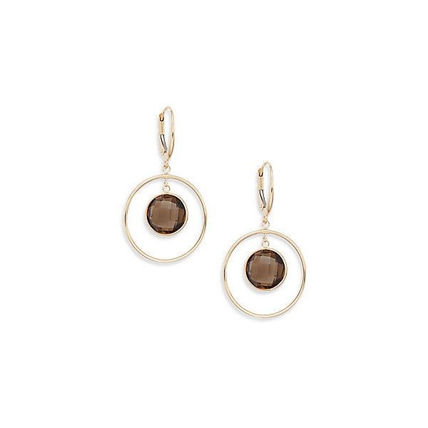 Saks Fifth Avenue Smoky Quartz & 14K Yellow Gold Drop Earrings (17.315 RUB) ❤ liked on Polyvore featuring jewelry, earrings, smoky quartz, 14k jewelry, 14k yellow gold earrings, gold jewelry, 14k earrings and smokey quartz earrings