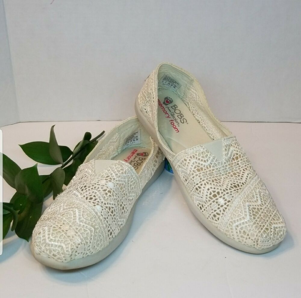 Skechers Bobs Crochet Slip Ons Size 9 5 Fashion Clothing Shoes