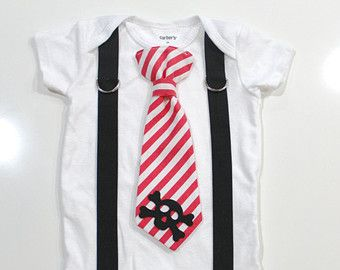 Boy Pirate Shirt, 1st birthday boy pirate, red pirate tie and suspender, boys pirate outfit, skull & crossbones for baby infant toddler boy