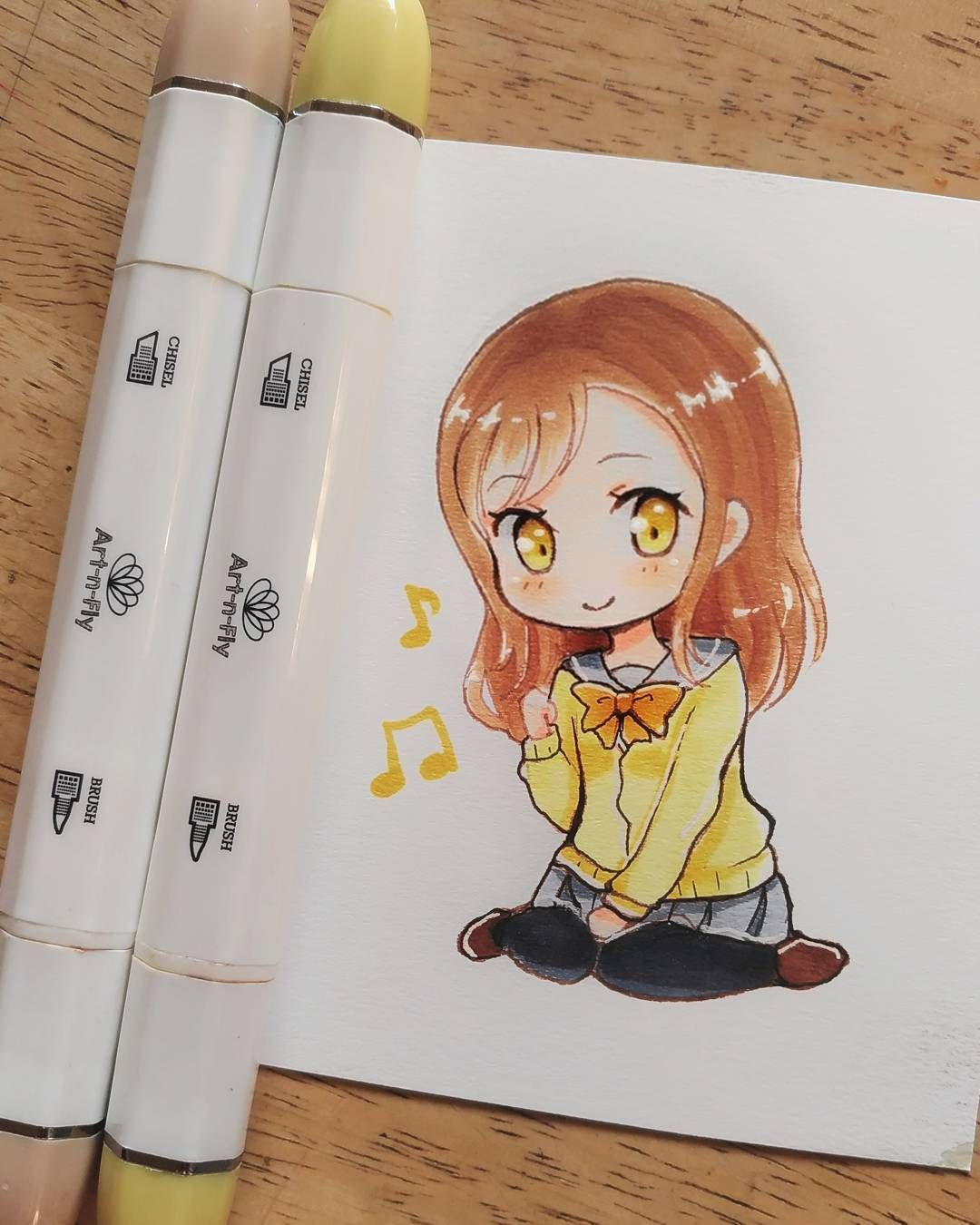 small chibi girl anime drawing fan art by meiririh using
