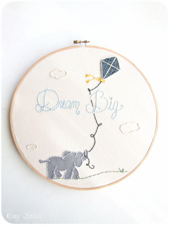 Nursery Embroidery Hoop Art Elephant Kite Modern | Costura ...