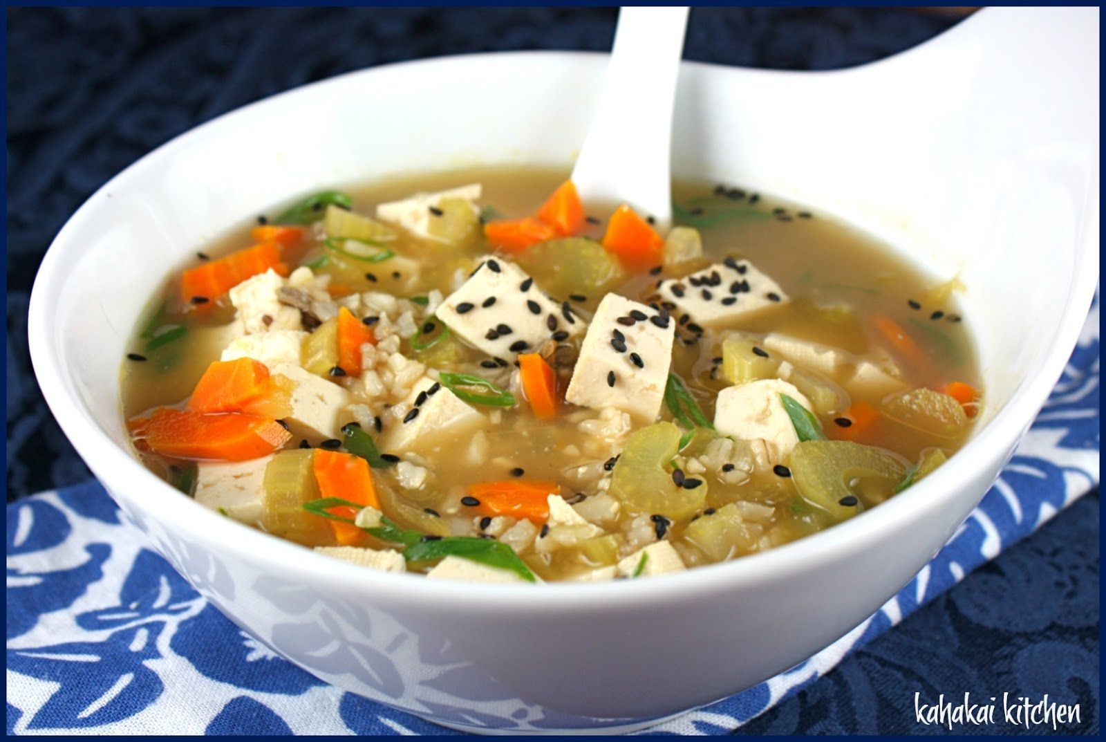 """Ginger Tofu Soup (""""Moosewood Restaurant Cooking for Health"""")."""