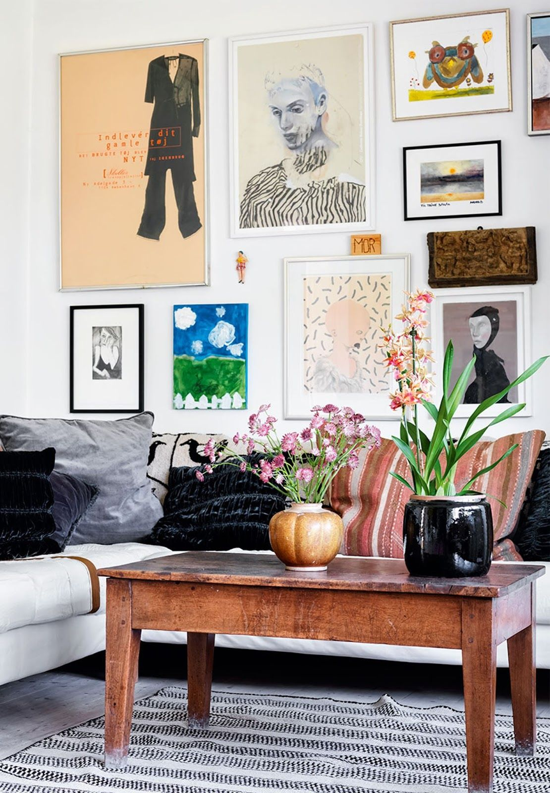 scandinavian interior with colorful rugs, oriental bohemian style ...
