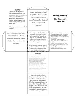 Anne Frank Cubing Ignment This Worksheet Contains Six Ignments Including Vocabulary Writing Discussion Drawing And Research That Surround The